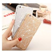 Brilliant Diamond Phone Cases For iPhone 7 4.7 inch Electroplating Skin Geometric patterns Design Coque Luxury Back Cover(China (Mainland))