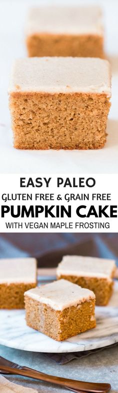 Grain free gluten free healthy paleo protein packed pumpkin cake with vegan maple frosting- no refined sugar! Soft light perfect for a fall dessert or healthy paleo snack. Diet Desserts, Paleo Dessert, Gluten Free Desserts, Pumpkin Breakfast, Breakfast Cake, Vegan Frosting, Maple Frosting, Paleo Cookies, Paleo Treats