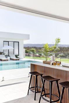 Outdoor Kitchen Design, Patio Design, House Design, Pool Bar, Alfresco Designs, Alfresco Ideas, Outdoor Barbeque, Indoor Outdoor Living, Modern Outdoor Living