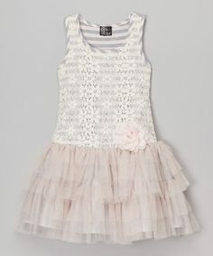 Look at this #zulilyfind! Heather Gray & Blush Floral Lace Dress - Toddler & Girls #zulilyfinds