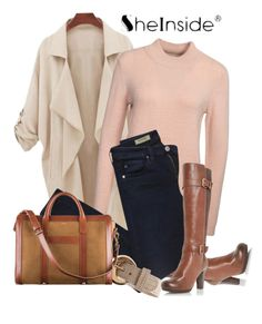 """SHEIN LOOSE POCKETS COAT"" by farzija-duzel ❤ liked on Polyvore featuring Vero Moda and AG Adriano Goldschmied"