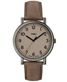 Timex Watch, Unisex Premium Originals Classic Brown Leather Strap 42mm T2n957ab