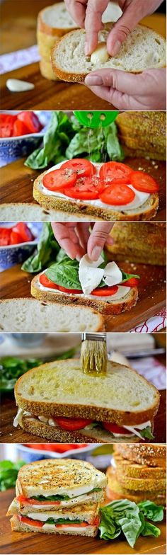 Margherita Grilled Cheese Sandwich ~ Super easy to make and so delicious! I use a panini press to make it so it's super quick, too! I Love Food, Good Food, Yummy Food, Vegetarian Recipes, Cooking Recipes, Healthy Recipes, Free Recipes, Soup And Sandwich, Healthy Snacks