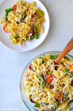 Asparagus Pasta Salad with Italian Dressing! This is a great summertime salad but it tastes just as good any other time of year!