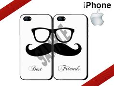 Best Friends iPhone Case - iPhone 4 Case or iPhone 5 Case - Moustache and Glasses - Two Case Set. $27.99, via Etsy.