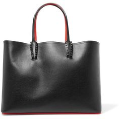 Christian Louboutin Cabata studded textured-leather tote ($1,250) ❤ liked on Polyvore featuring bags, handbags, tote bags, black, purse pouch, studded purse, handbags totes, man travel bag and studded tote
