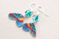 Colorful Butterfly Earrings with Blue Beads by MusingTreeStudios #etsy #handmade #jewelry