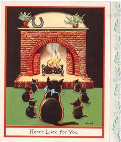 Here's Luck For You - black cat and 6 kittens face hearth fire, red border - A Tuck Card, British Artist:	Dinah