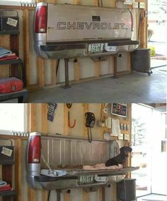 """Man cave idea here...As a work bench shown here or a desk another pinner thought it be the """" Coolest sofa""""."""