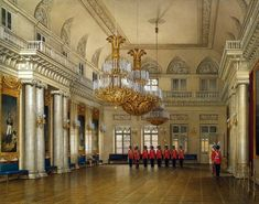 Interiors of the Winter Palace. The Large Fieldmarshals' Hall - Edward Petrovich Hau - Drawings, Prints and Painting from Hermitage Museum Imperial Palace, Imperial Russia, Palazzo, Russian Architecture, Winter Palace, St Petersburg Russia, Hermitage Museum, Watercolor Images, Grand Homes