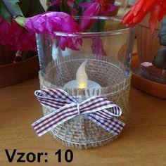 Svietnik sklenený s mašľou - Sviečka - S čajovou sviečkou LED (plus 1€), Vzor - Vzor 10