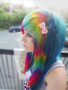 Rainbow scene/emo hair I will forever love this <3