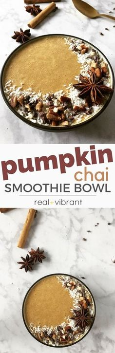 Pumpkin Chai Smoothie Bowl - This Fall Inspired smoothie bowl blends all the flavors we love about this time of the year! | realandvibrant.com