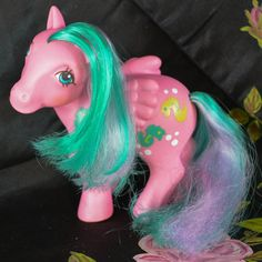 ATCTTeam - Vintage My Little Pony 'Wave Runner' Pink Pegasus Wing Sunshine Collection 80s Hasbro - Twice as Fancy by TeaJay, Vintage  Toy  Animal  Colour Change  SunShine  my little pony  g1  MLP  Beach  1984  Pink  Pegasus  Wings Wave Runner  Seahorse  Mint Seahorse
