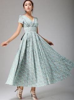 Floral Maxi Linen Dress - Soft Duck Egg Flower Prom Dress with Lace Edging - Custom Made (665T) by xiaolizi on Etsy
