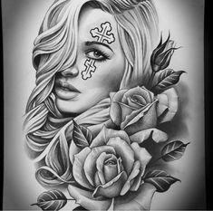Chicano Tattoos Sleeve, Chicano Style Tattoo, Body Art Tattoos, Hand Tattoos, Forarm Tattoos, Rose Tattoos, Skull Girl Tattoo, Girl Face Tattoo, Girl Tattoos
