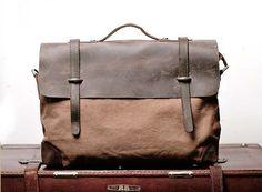 Superior Genuine cross -body bag Cow Leather canvas bag /   Briefcase /  Messenger bag /leather  Laptop bag / Men's leather satchel(6896)