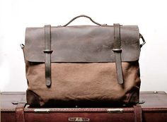 Superior Genuine cross -body bag Cow Leather canvas bag /   Briefcase /  Messenger bag /leather  Laptop bag / Men's leather satchel(6896)