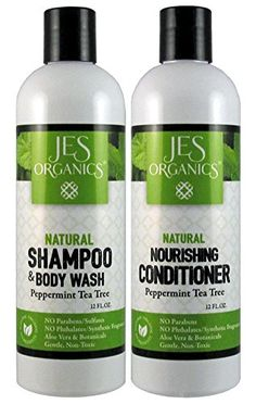 Shampoo  Conditioner Set  Organic Infused Gentle Aloe Shampoo  Nourishing Conditioner Set Paraben Free Sulfate Free Peppermint Tea Tree >>> Click on the image for additional details.(This is an Amazon affiliate link)