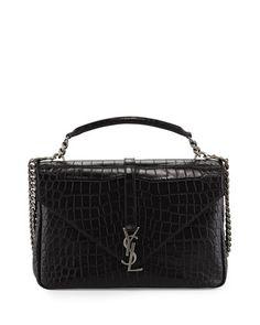 Monogram College Croc-Embossed Crossbody Bag, Black (Noir) by Saint Laurent at Neiman Marcus.