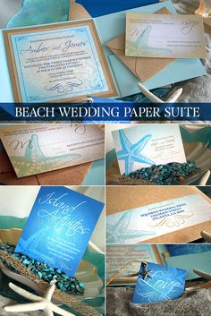 Beach Wedding invitation suite. Bespoke destination wedding invitation design in our Sea Glass collection. Featuring different colors and textures recreating the essence of the sand, sun and ocean and reflecting your personal style. Click to order your sample invitation today. As seen in DIY Weddings® Magazine this year. #beachwedding