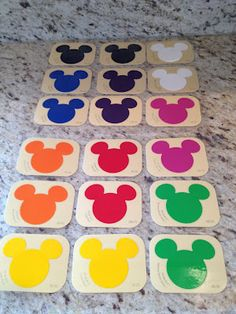 Disney paint sample cards...laminated... a new Mickey inspired memory game..[good for learning colors too]