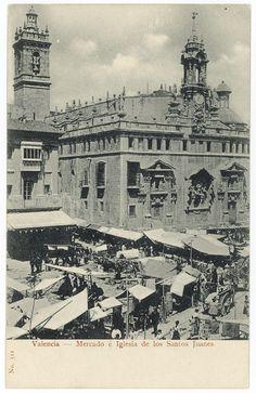 Mercado é Iglesia de los Santos Juanes, Valencia. Tarjeta postal