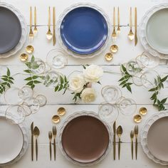 Signature Collection Chargers + Heath Ceramics in Indigo/Slate, Moonstone, Mist, French Grey, Redwood and Opaque White + Gold Celeste Flatware + Chloe 24k Gold Rimmed Stemware + 14k Gold Salt Cellars + Tiny Gold Spoons [Casa de Perrin]