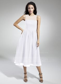 A-Line/Princess Scoop Neck Tea-Length Chiffon Bridesmaid Dress With Ruffle (007014833)