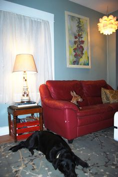 dog town. this couch is the biggest eye sore in my world, but it's starting to bug me less with Steff's beautiful stencil and the side table (old sewing table seat which opens for storage).