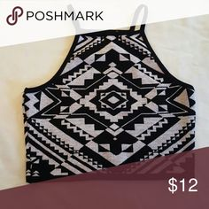 Racerback tribal print crop top Stretch knit material, only worn once Forever 21 Tops Crop Tops