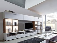 Linea by Germania Modern Wall Storage System in White and Walnut