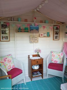 Summer House Furniture, She Shed Interior Ideas, Allotment Shed, Shed Office, Shed Of The Year, Shed Makeover, Craft Shed, Outdoor Office, Outdoor Sheds
