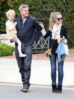 Stars At A Kids Party At Rachel Zoes House Eric Dane, Rebecca Gayheart, and Billie Dane