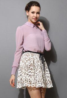 Crochet Collar Purple Chiffon Shirt