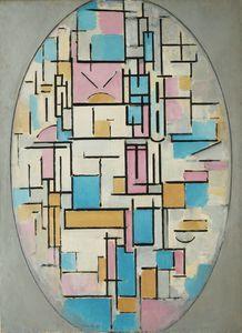 Composition dans un ovale avec pans de couleurs - (Piet Mondrian)