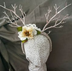 Wood Nymph Headdress; Deer Costume Headband; Woodland Creature Headband; Antler Headband; Flower and Antler Headband for Adults; Deer Antler