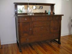 Arts And Crafts Mission Style Mirrored Buffet Console Cabinet photo
