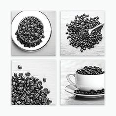 """Canvas Kitchen Wall Art Set, Coffee Photography, Coffee Wall Art Decor, Black White Kitchen Wall Art - 6x6 to 24x24 Coffee Wall Art Prints. Ready-to-hang wrapped canvas coffee prints (set of 4), large rustic canvas kitchen wall decor, black and white coffee photography prints on canvas, sizes 6x6 to 24x24. Title: Good Morning (Set of 4) Canvas prints are professionally-stretched onto a 1.25"""" wooden stretcher frame; built with a solid face to ensure a tight, flat, supportive wrap. Corners…"""