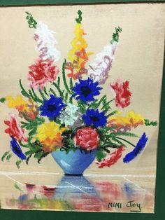 Vintage Mimi Joy Original Pastel Floral Vase Bright Primary Colors | eBay