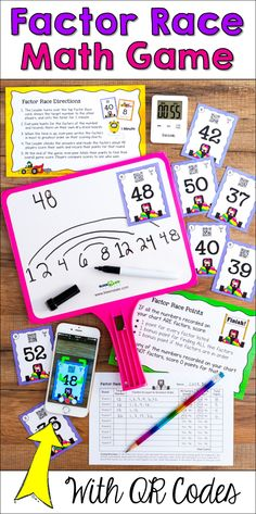 Your kids will love Factor Race math game! Students race against the clock to find ALL the factors of a number, and they score points for the number of correct factors they find! But watch out... players who list a single incorrect factor score 0 points for that round! QR codes and answer keys included, so this activity it perfect for math centers and cooperative learning teams!
