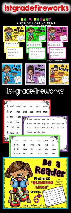 Blending lines to read for fluency practice.  All 6 units...BUNDLED!  Phonics pages for blending words. Fluency practice. Phonics word families. 15 pages per unit.  All 6 units included.  Can be used with ANY program.