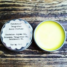 Patchouli-Tangerine Solid Perfume - uses as little as 3 ingredients. Can use any essential oils if Patchouli and Tangerine aren't to your liking.
