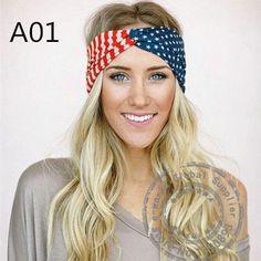 American Flag Cotton Turban Headbands