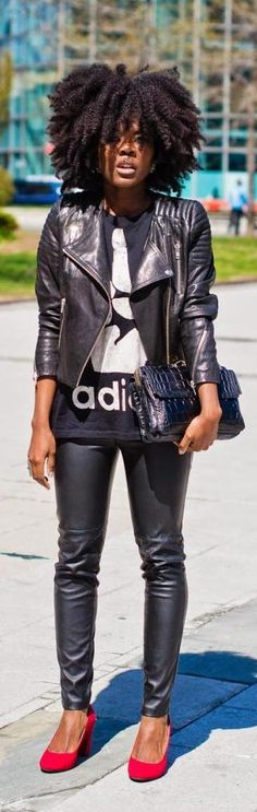 All Black - Simply Cyn « loooove erything aboit this ! Hair, shirt, jacket, pants, purse, shoes loooooove !
