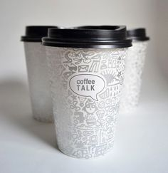 "Designed by Nimrat Brar | Country: India; ""Coffee cups designed for a pop-up event promoting conversation and idea sharing over coffee. Mixed in with the hand-drawn illustrations which were inspired by streams of consciousness are a few hidden prompt questions as well."""