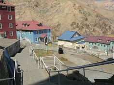 Sewell was built in the steep terrain of the Andes to serve a copper mine. The town is situated in an area too steep to accomodate wheeled vehicles, so residents were delivered there via a train.