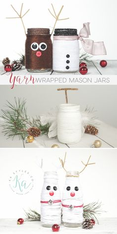 Yarn wrapped Holiday mason jars. Fun Holiday craft project for the kids.