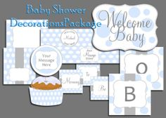 Polka Dot Boy Baby Shower Decorations by OldWaysFussNFeathers, $25.00