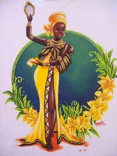 Pin by Xiamor on Afro Black Women Art, Black Art, Fantasy Kunst, Fantasy Art, Oshun Goddess, Afrique Art, African Goddess, African Art Paintings, Fall Coloring Pages